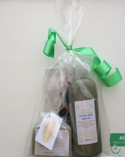 Подарочный набор №2 (мыло с зеленой глиной и хвоей + шампунь с голубой глиной и фиалкой)