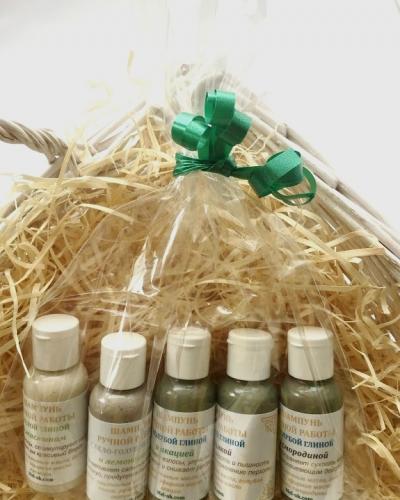 Подарочный набор пробников шампуней с глиной, 5 видов
