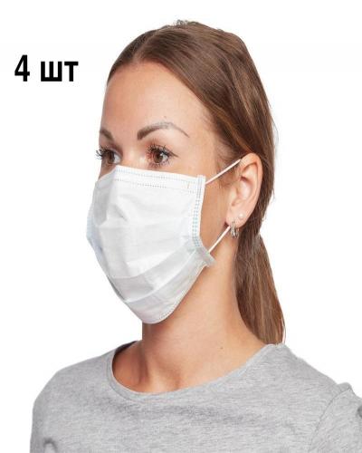 Маска Медицинская 3-слойная для лица, упаковка (4 штуки)