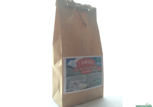 Глина Бело - голубая кусковая, пакет 1 кг