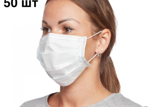 Маска Медицинская 3-слойная для лица, упаковка (50 шт)